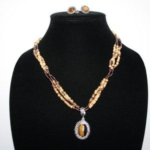 Avon Tigers eye necklace and earrings set